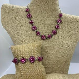 Pink Rose Jewelry Set